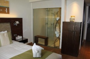 Park Plaza Sukhumvit Bangkok view of the other side with bathroom and open glass shower